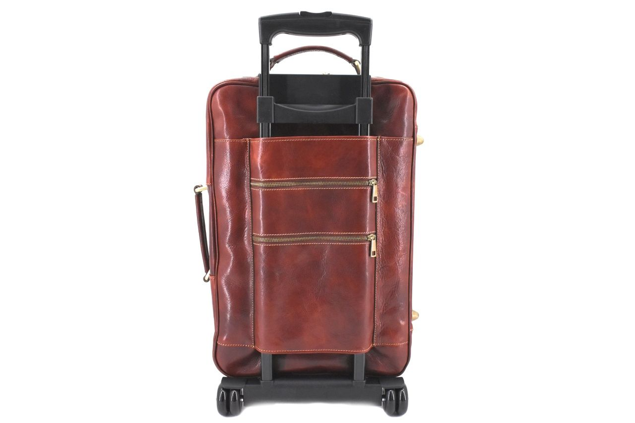 Cestovní palubní kožený kufr Arteddy - tmavě hnědá 40l 39988