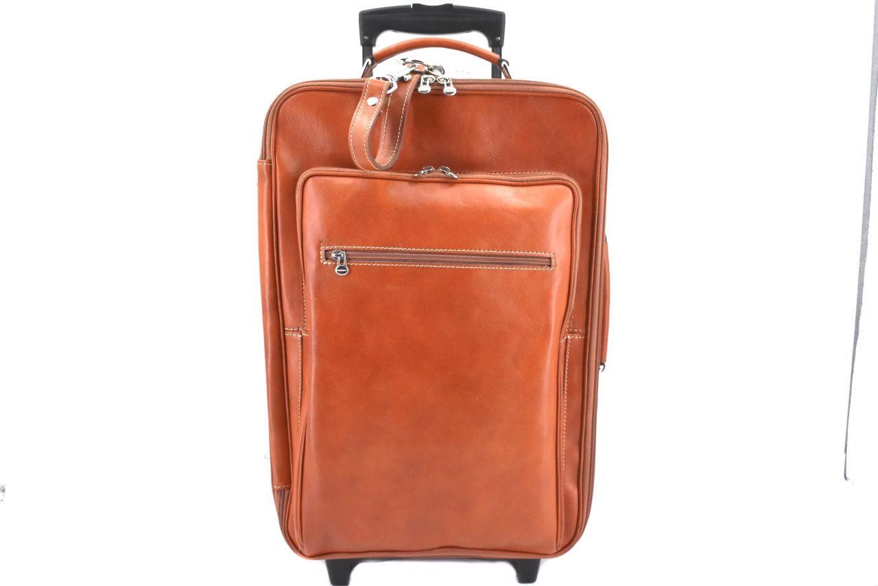 Cestovní palubní kožený kufr Arteddy - camel 40l 39988