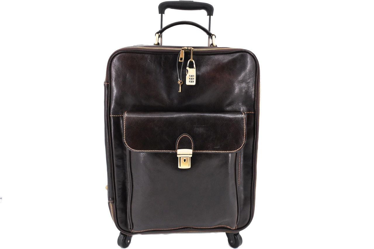 Cestovní palubní kožený kufr Arteddy - tmavě hnědá 45l 39989