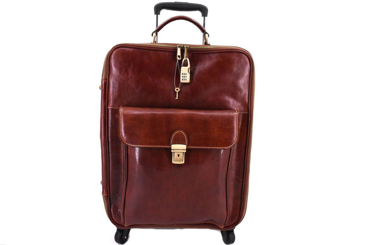 Cestovní palubní kožený kufr Arteddy - hnědá 45l 39989