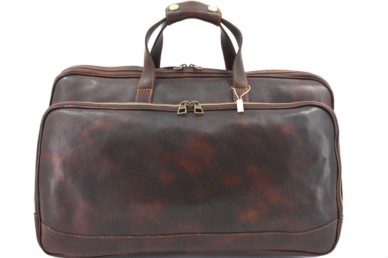 Cestovní kožena taška na kolečkách Arteddy - tmavě hnědá