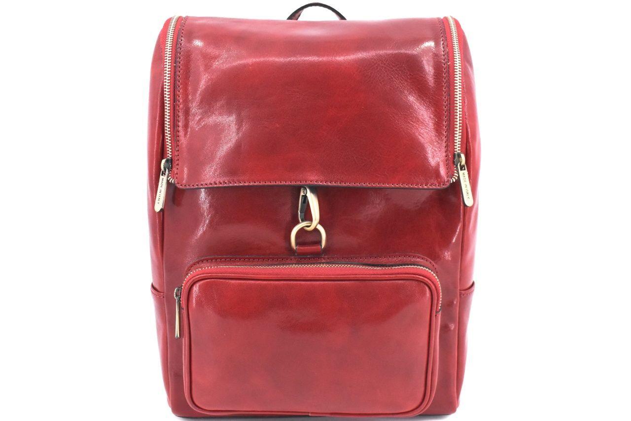 Koženy batoh s klopnou Arteddy - červená 39995