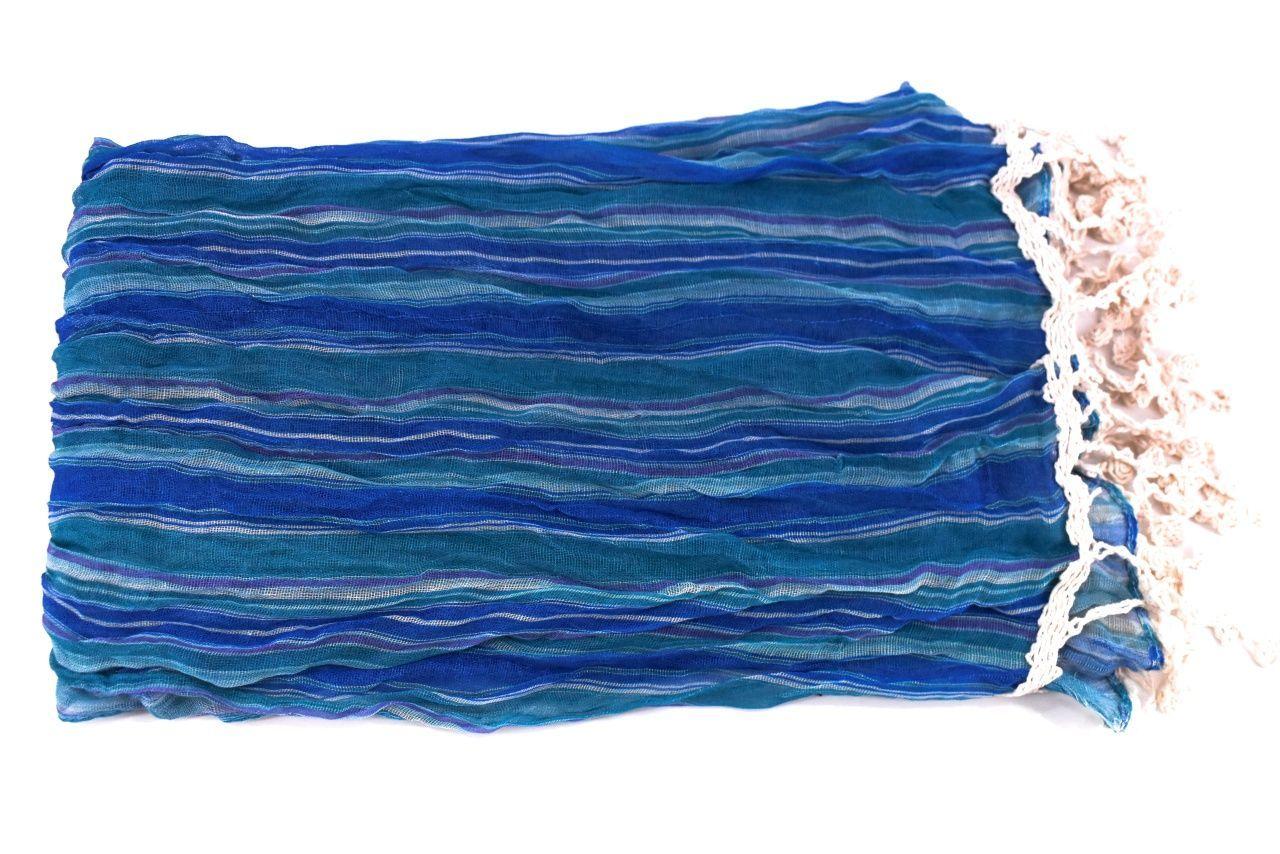 Dámský šátek s třásněmi - modrá