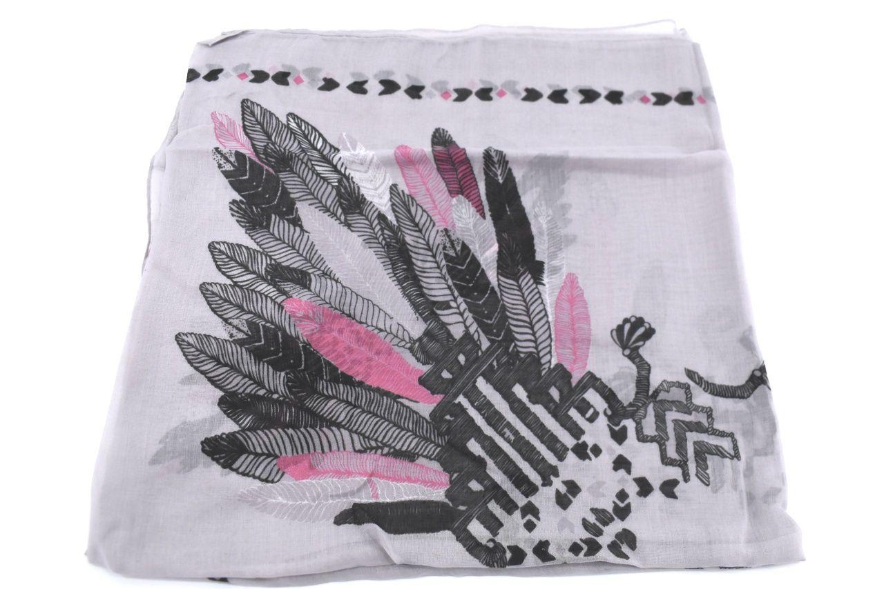 Dámský šátek s potiskem - šedá