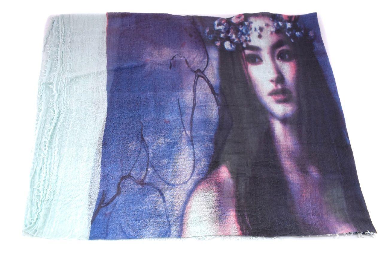 Moderní dámský šátek s potiskem - krémová/růžová
