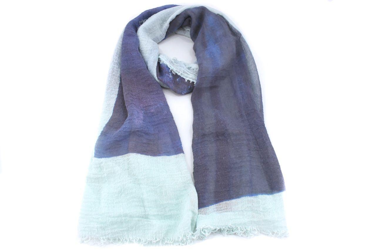 Moderní dámský šátek s potiskem - světle zelená/modrá