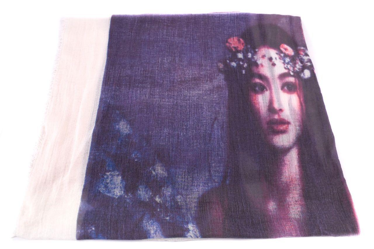 Moderní dámský šátek s potiskem - krémová/fialová