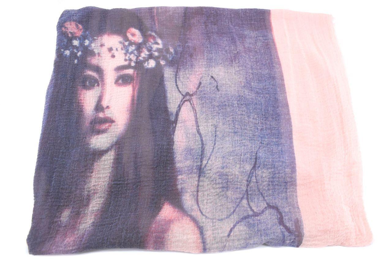 Moderní dámský šátek s potiskem - světle růžová/modrá