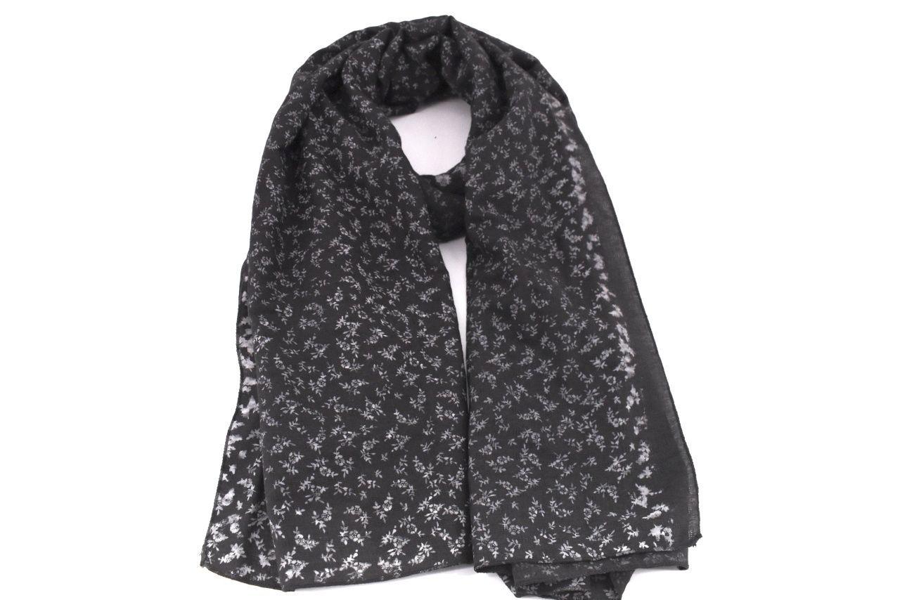 Dámský šátek s květovaným vzorem - černá