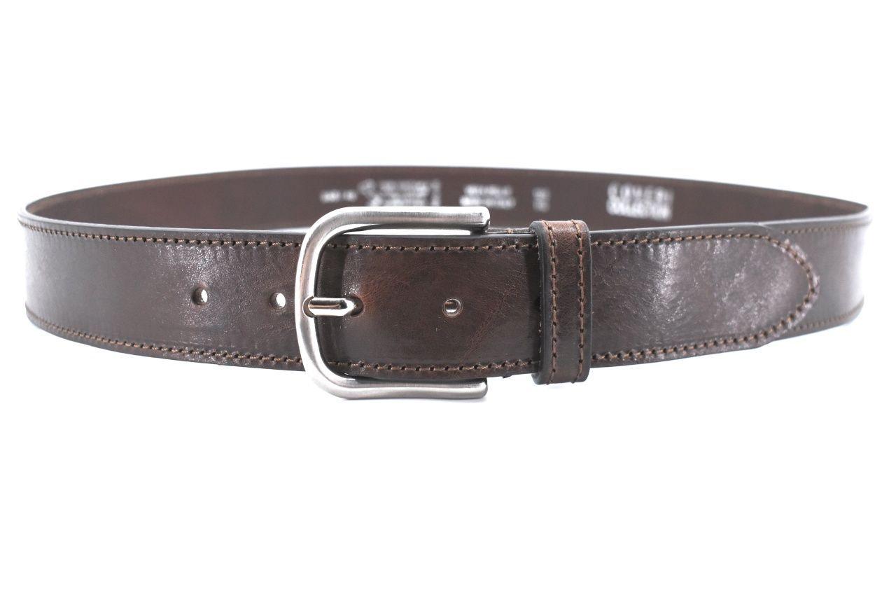 Kožený opasek Coveri Made in italy - tmavě hnědá/125 39919