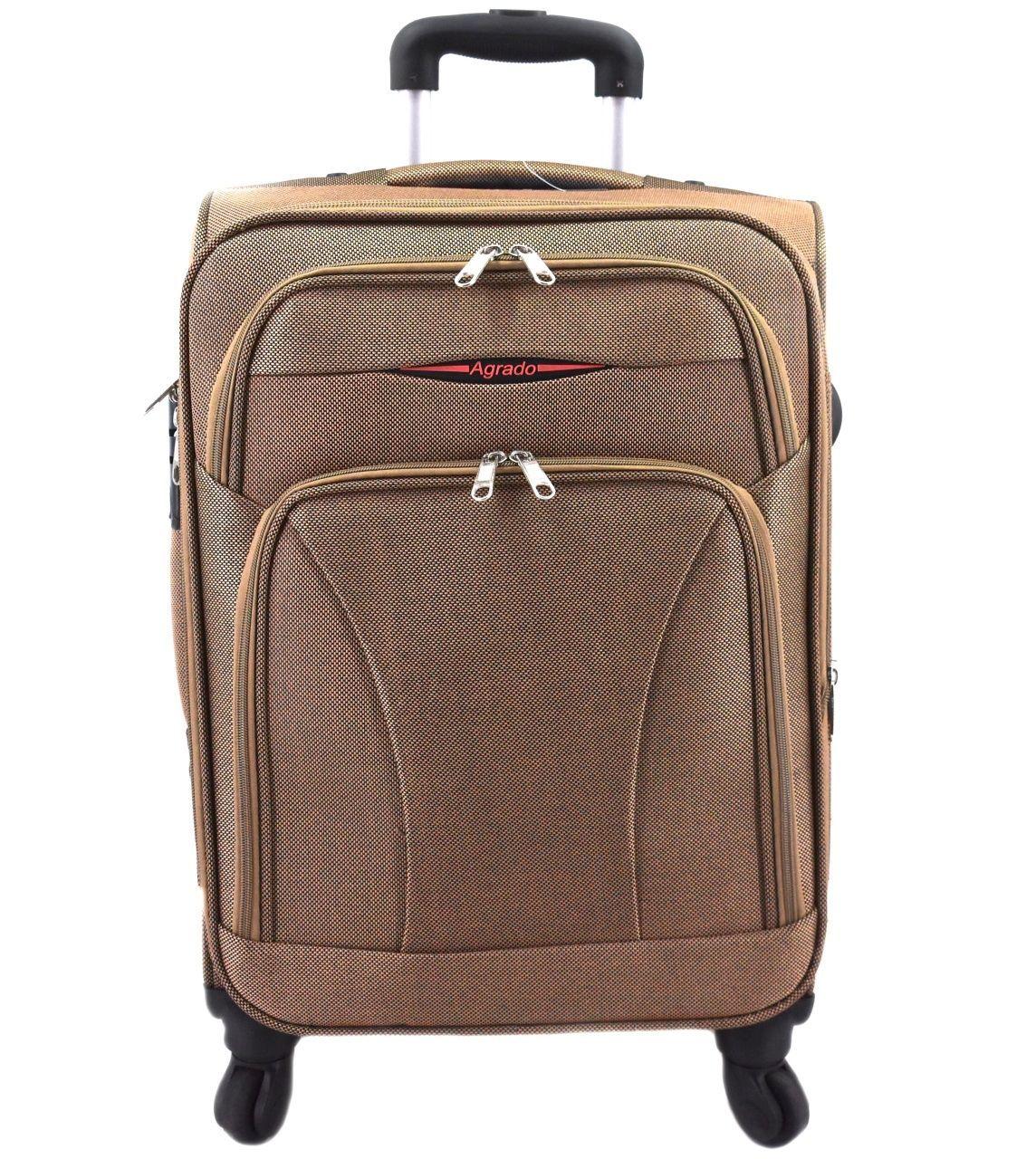 Cestovní textilní kufr na čtyřech kolečkách Agrado (L) 110l - béžová 8021 (L)