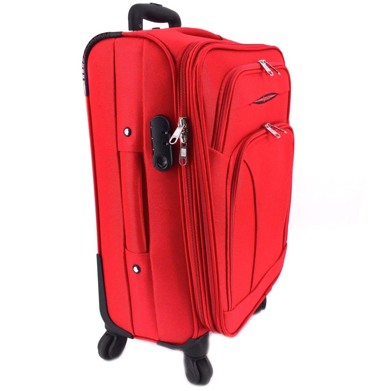 Cestovní textilní kufr na čtyřech kolečkách Agrado (M) 80l - modrá/červená 8021 (M)