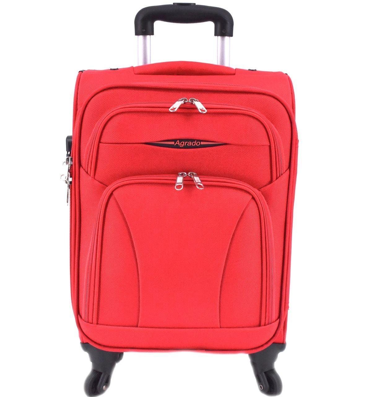 Cestovní textilní kufr na čtyřech kolečkách Agrado (M) 80l - červená 8021 (M)