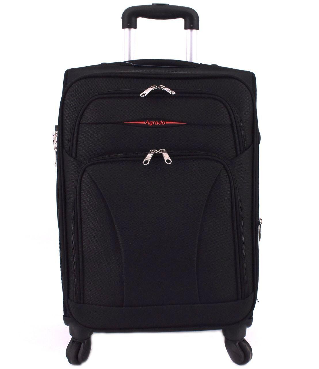 Cestovní textilní kufr na čtyřech kolečkách Agrado (M) 80l - černá 8021 (M)