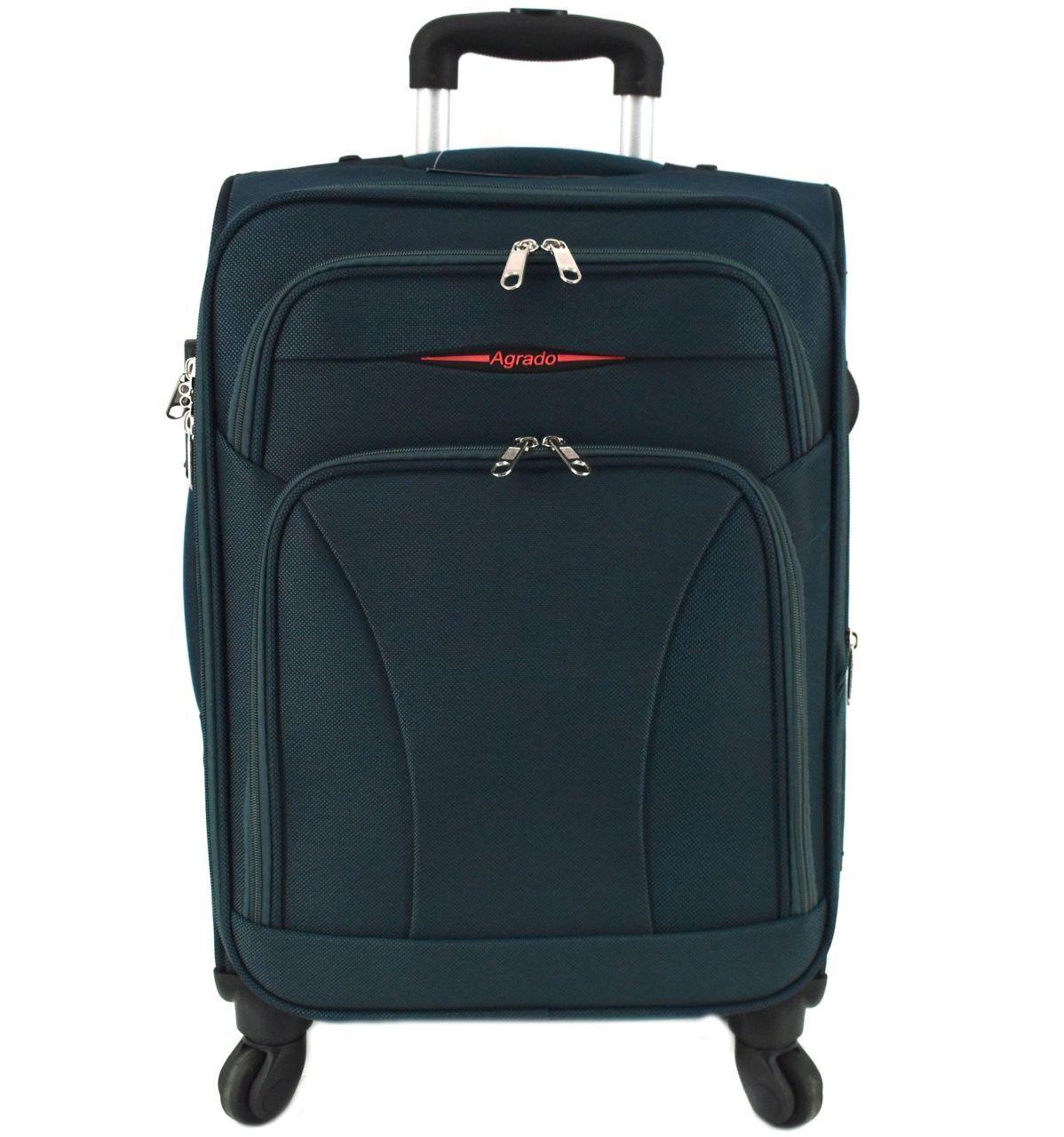 Cestovní textilní kufr na čtyřech kolečkách Agrado (M) 80l - tmavě zelená 8021 (M)