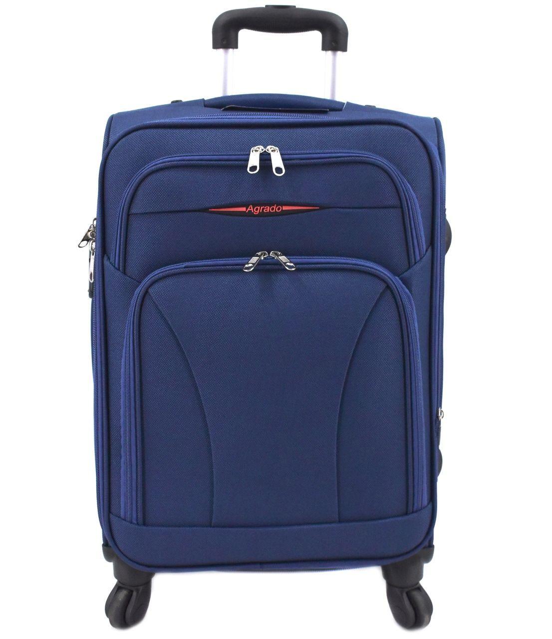 Cestovní textilní kufr na čtyřech kolečkách Agrado (M) 80l - tmavě modrá 8021 (M)