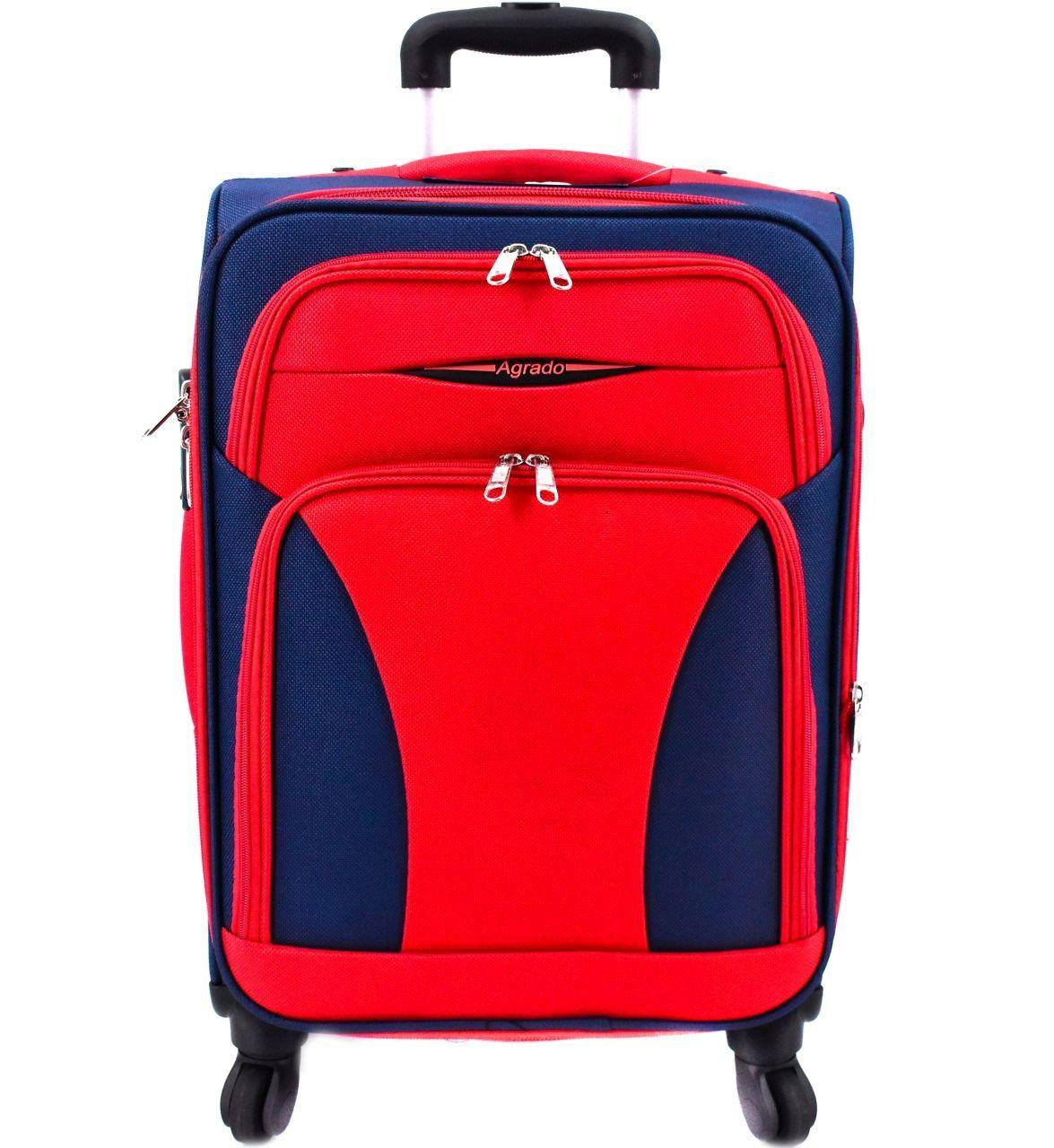 Cestovní textilní kufr na čtyřech kolečkách Agrado (S) 45l - modrá/červená 8021 (S)