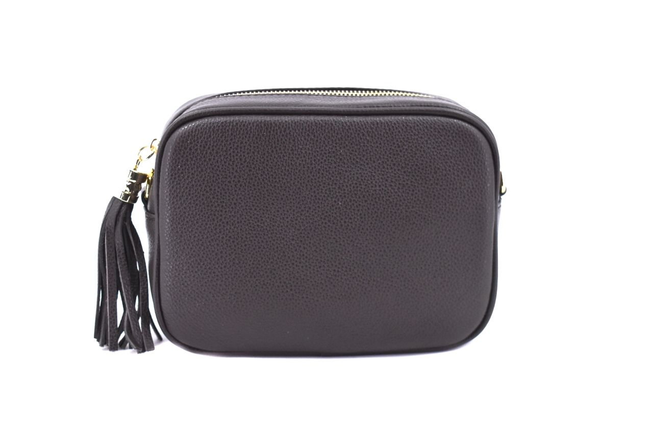 Dámská/dívčí kožená kabelka crossbody Arteddy - tmavě hnědá 40885