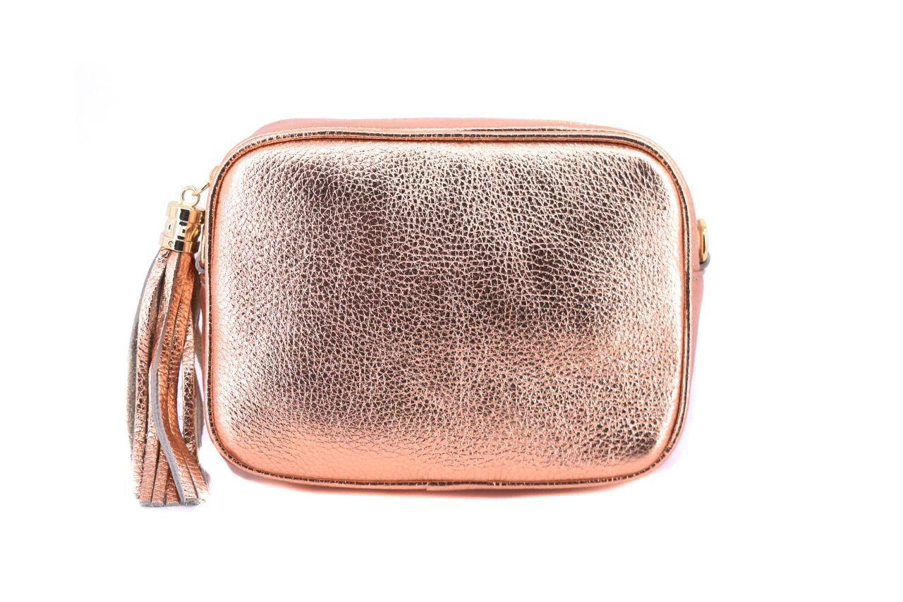 Dámská/dívčí kožená kabelka crossbody Arteddy - bronzová 40885