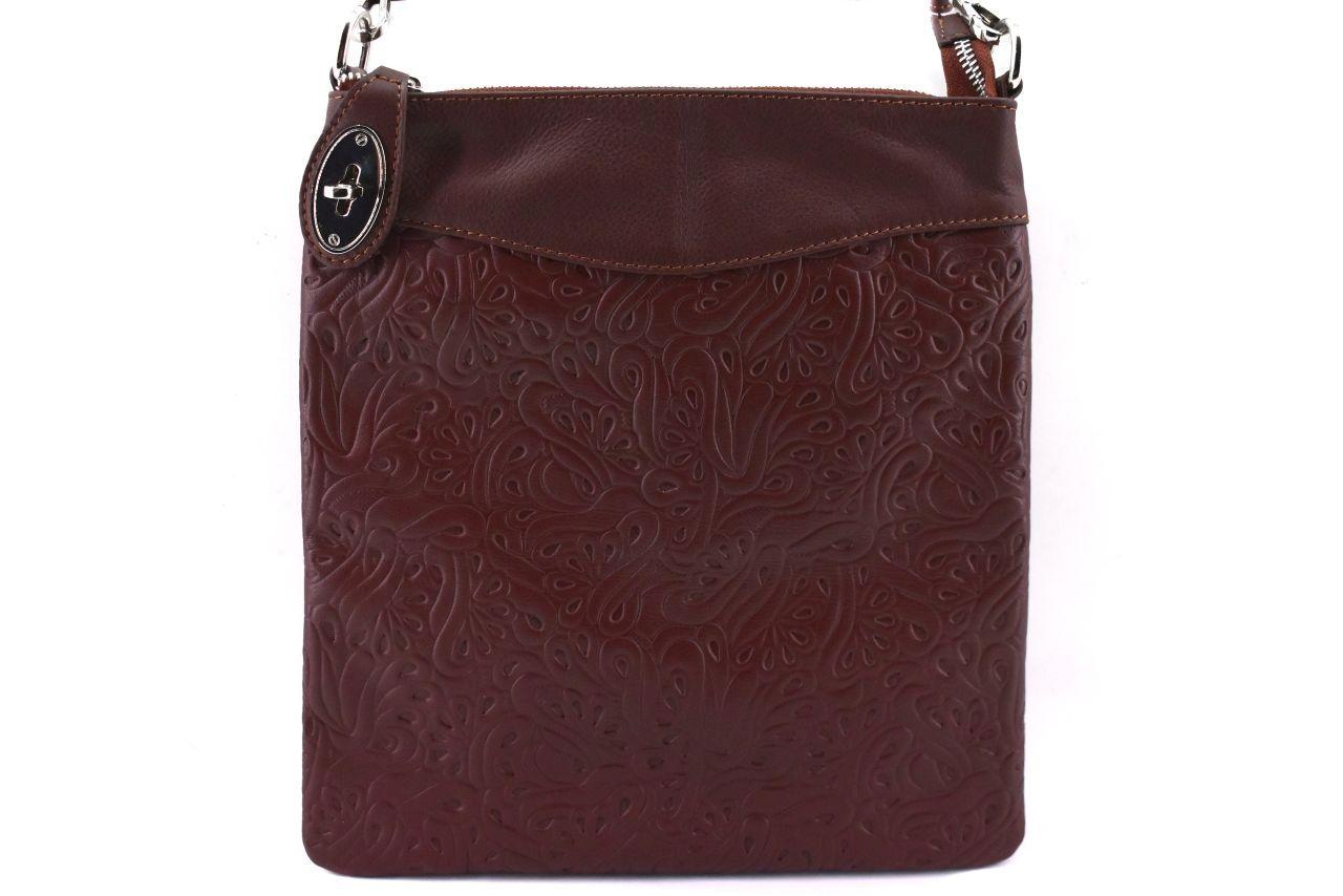 Dámská kožená kabelka crossbody Arteddy - tmavě hnědá 35867