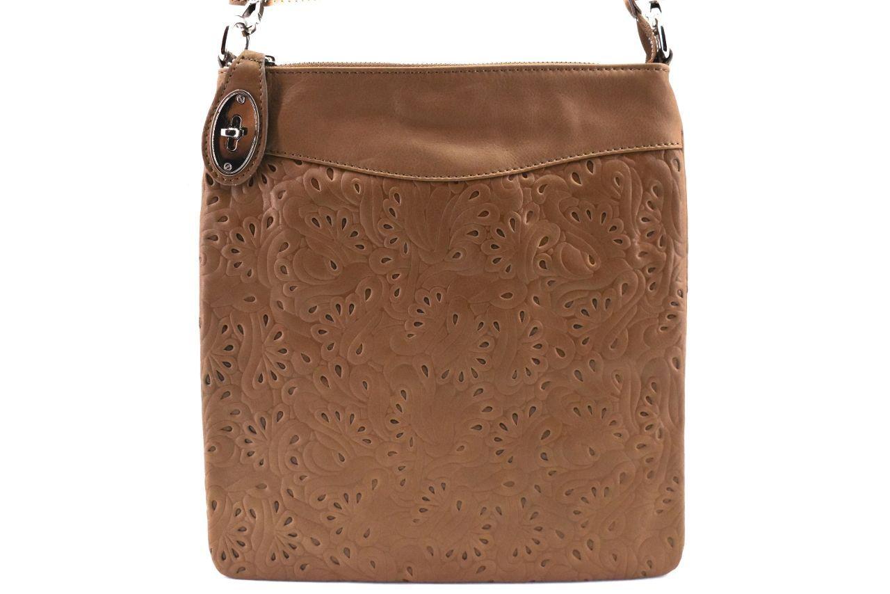 Dámská kožená kabelka crossbody Arteddy - tmavě béžová 35867