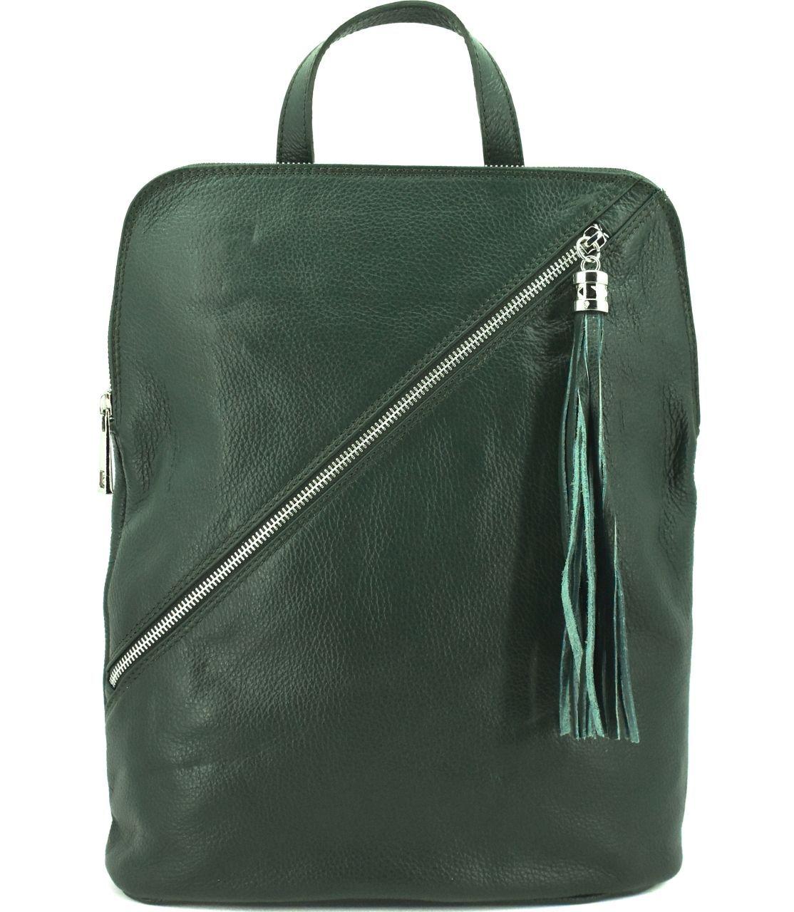 Dámský kožený batoh a kabelka v jednom /Arteddy - tmavě zelená 36932