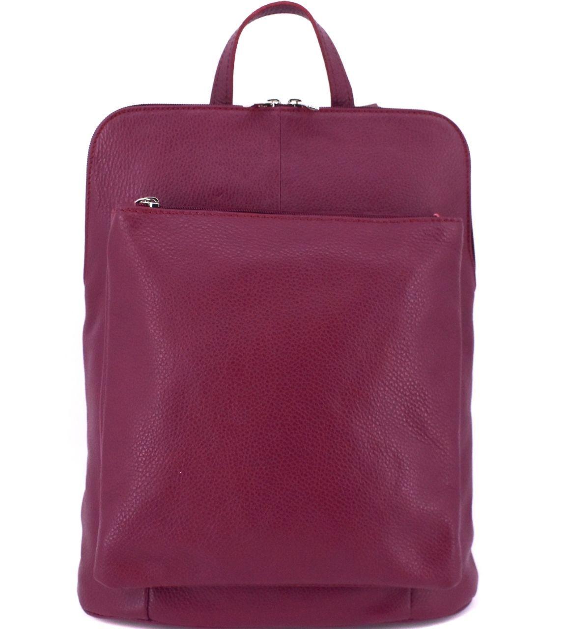 Dámský kožený batoh a kabelka v jednom / Arteddy - vínová 36933
