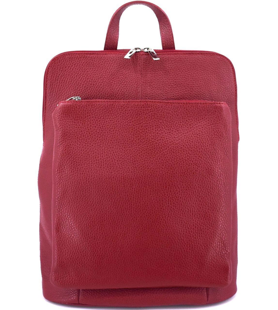 Dámský kožený batoh a kabelka v jednom / Arteddy - tmavě červená 36933