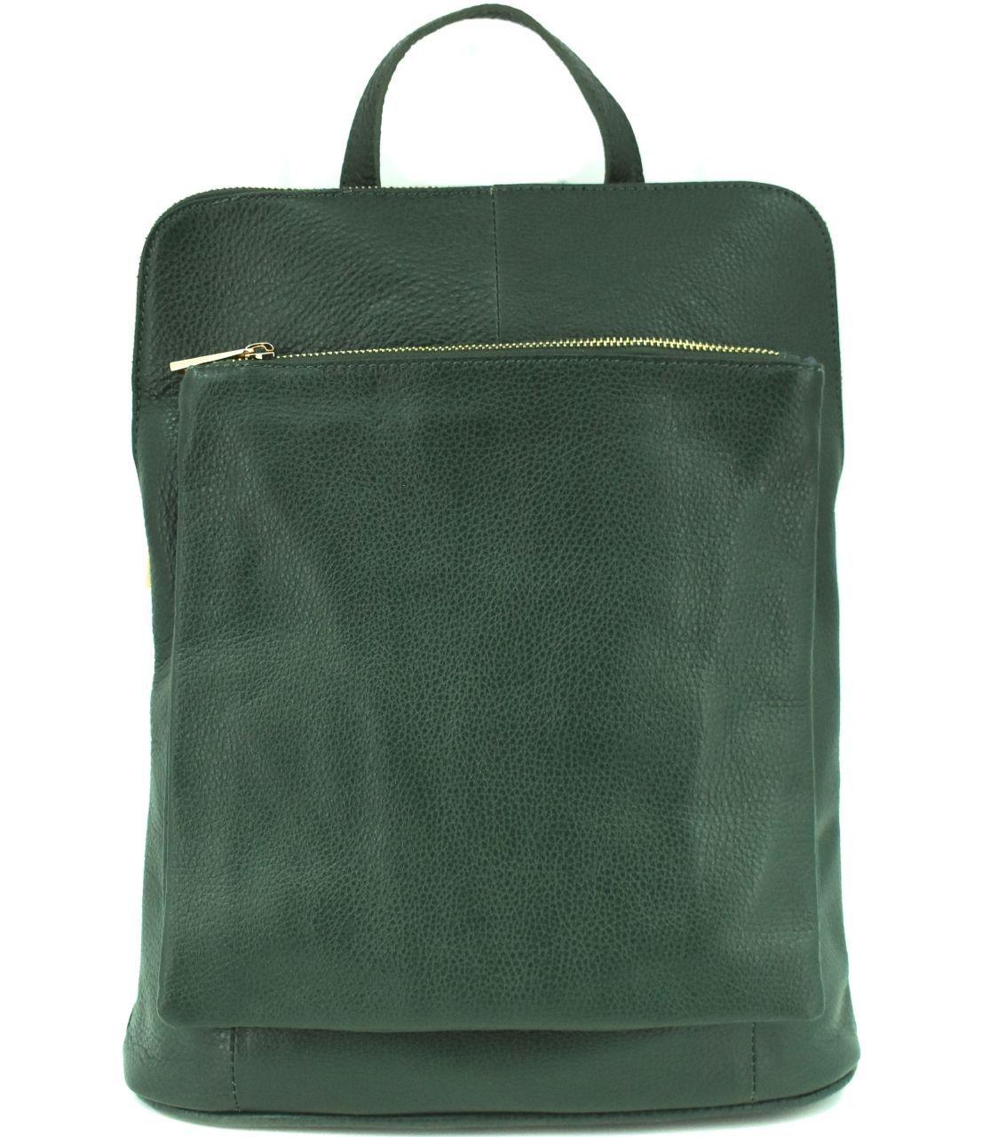 Dámský kožený batoh a kabelka v jednom / Arteddy - tmavě zelená 36933