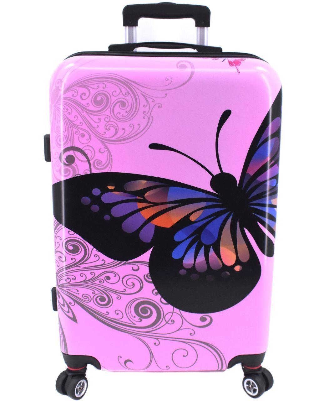 Cestovní skořepina kufr na čtyřech kolečkách Arteddy - motýl/růžová (M) 70l 37148 (M)
