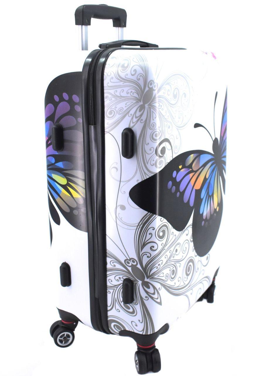 Cestovní skořepina kufr na čtyřech kolečkách Arteddy - motýl/růžová (L) 100l 37148 (L)