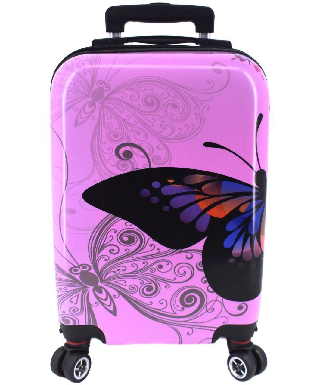 Cestovní palubní kufr na čtyřech kolečkách Arteddy -(XS) 30l motýl/růžová 37148 (XS)