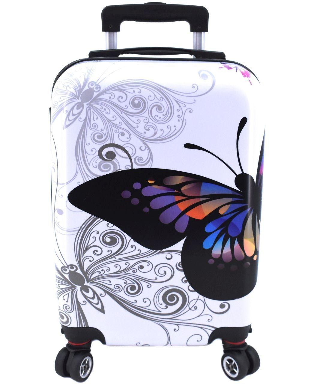 Cestovní palubní kufr na čtyřech kolečkách Arteddy -(XS) 30l motýl/bílá 37148 (XS)
