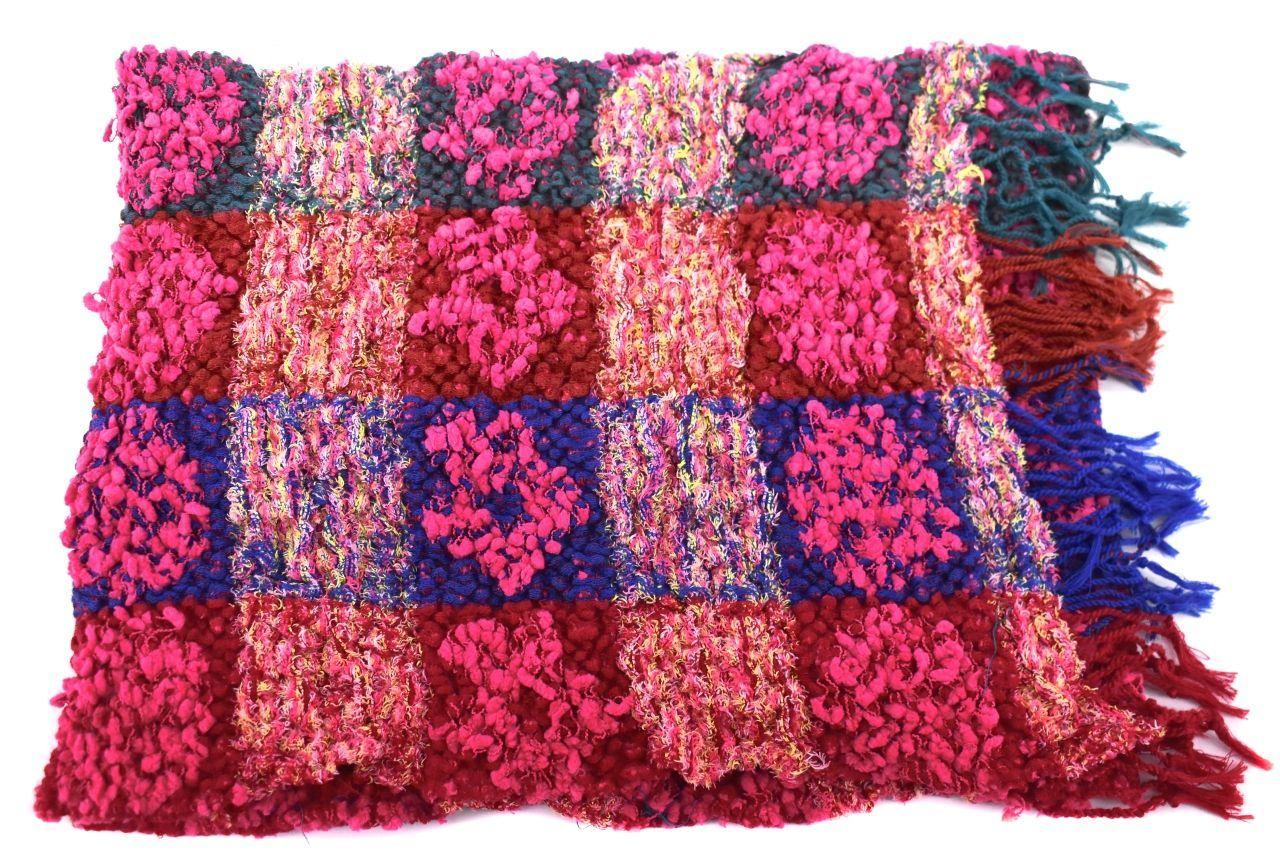Moderní  zimní šála - růžová