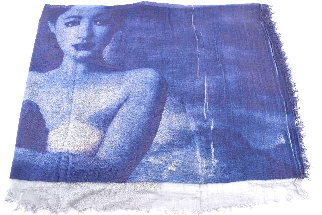Šála s potiskem - modrá