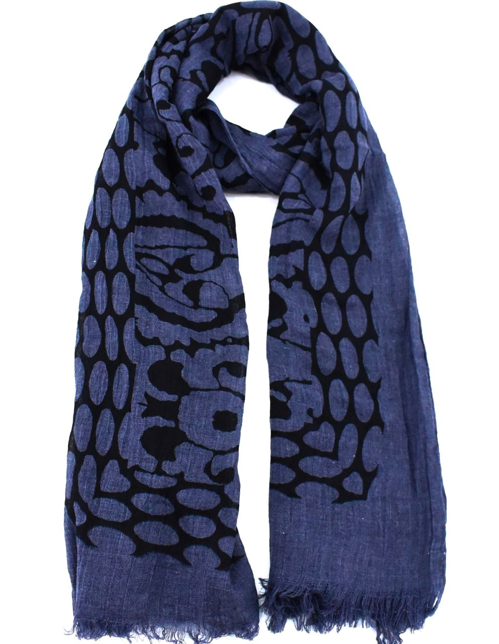 Dámský šátek s potiskem - tmavě modrá