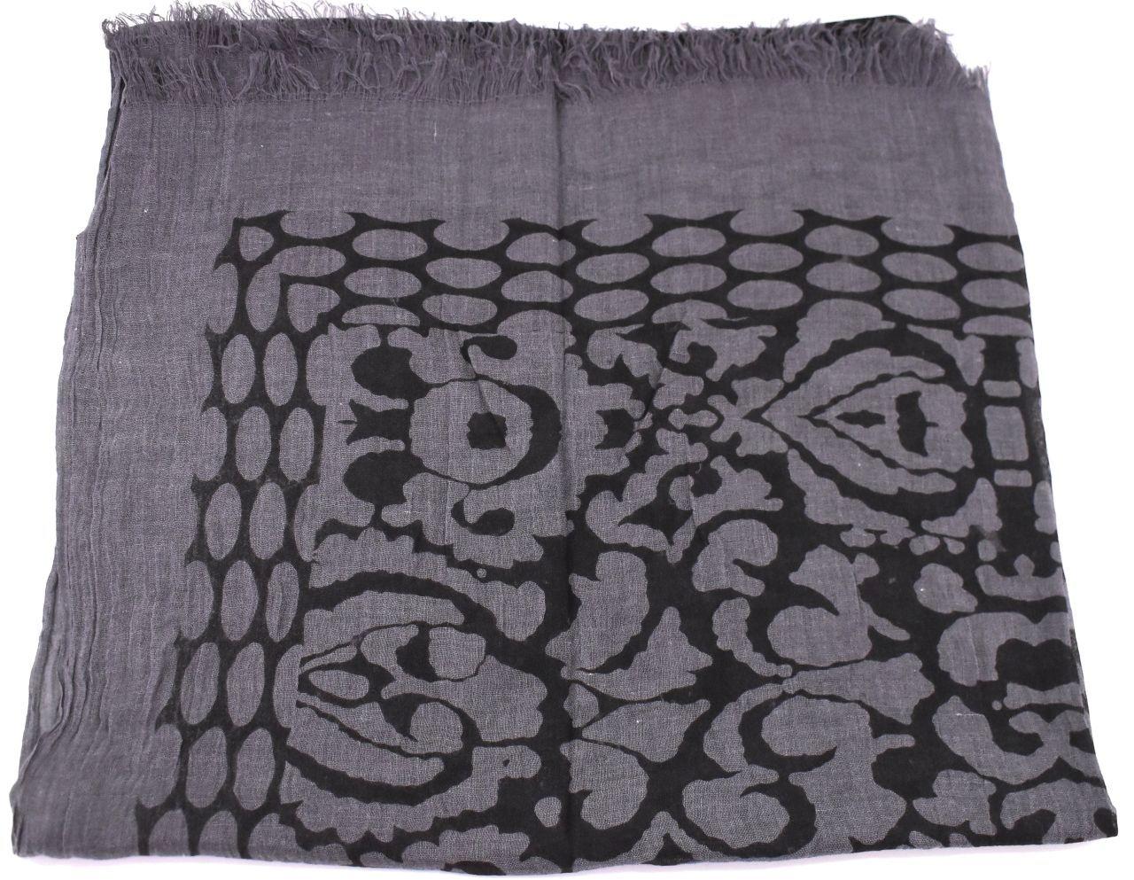 Dámský šátek s potiskem - tmavě šedá