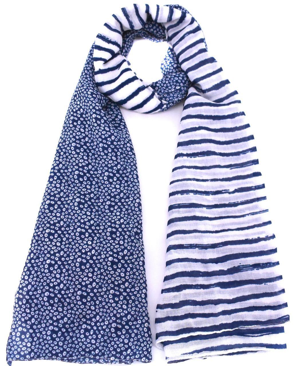 Moderní oboustranný šátek - modrá