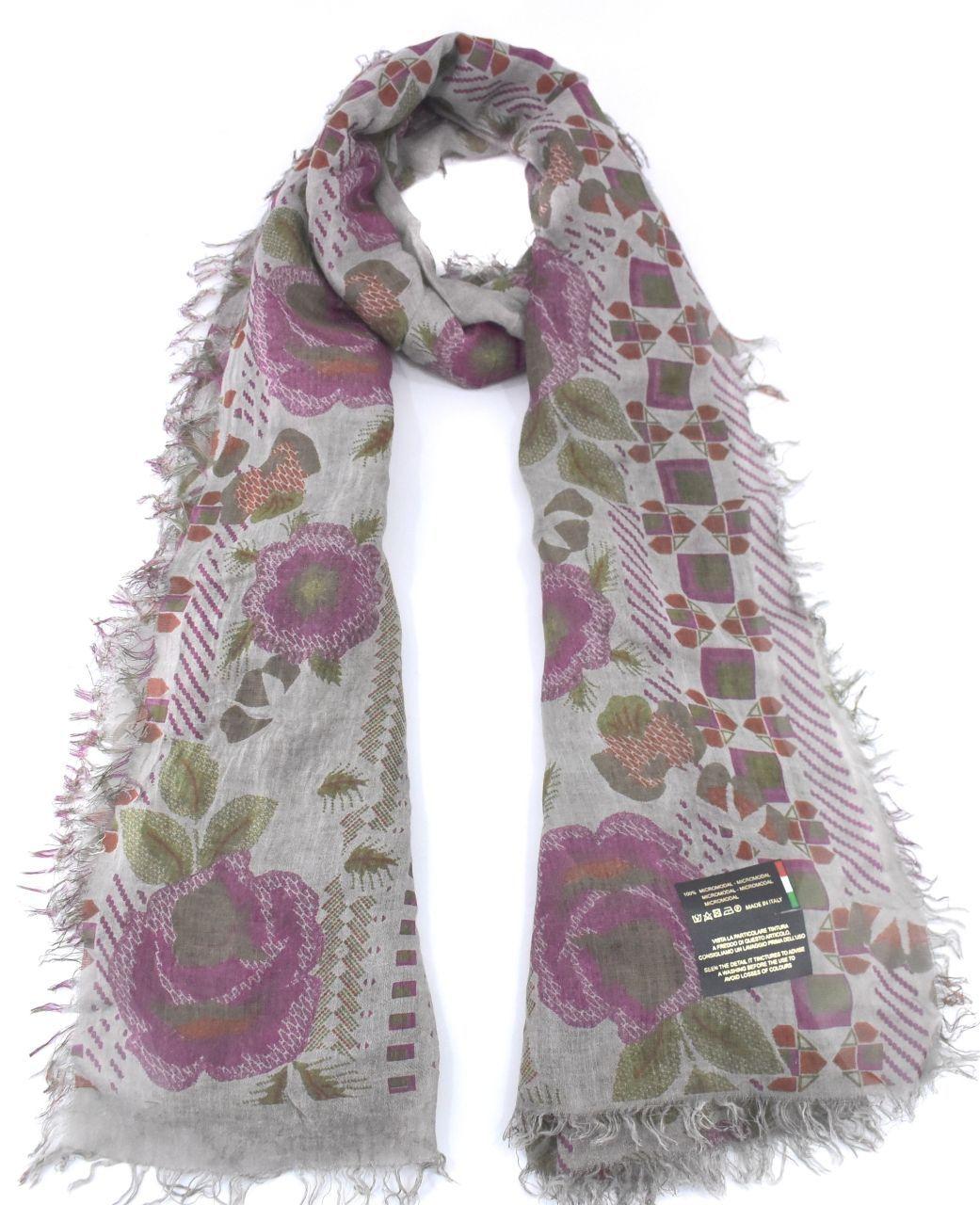 Dámský šátek Made in Italy s květovaným vzorem - taupe