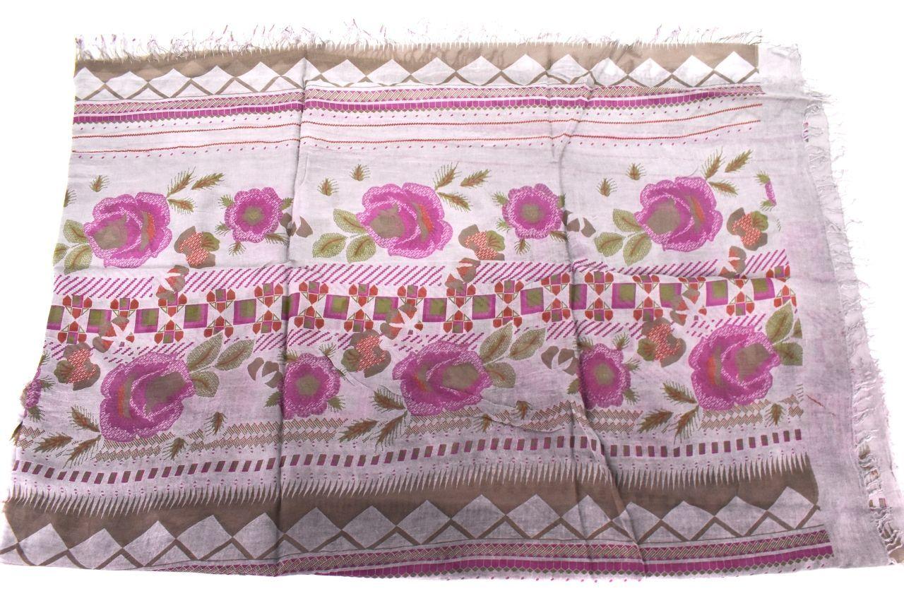 Dámský šátek Made in Italy  s květovaným vzorem - šedá