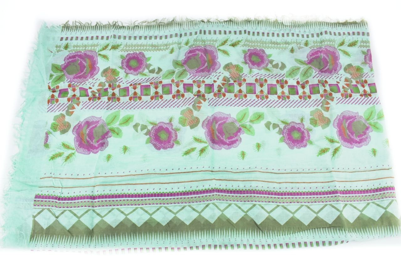 Dámský šátek Made in Italy  s květovaným vzorem - zelená