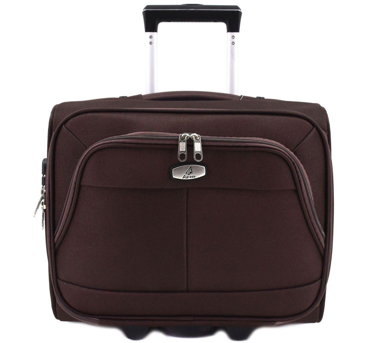 Pilotní textilní kufr - tmavě hnědá 33953