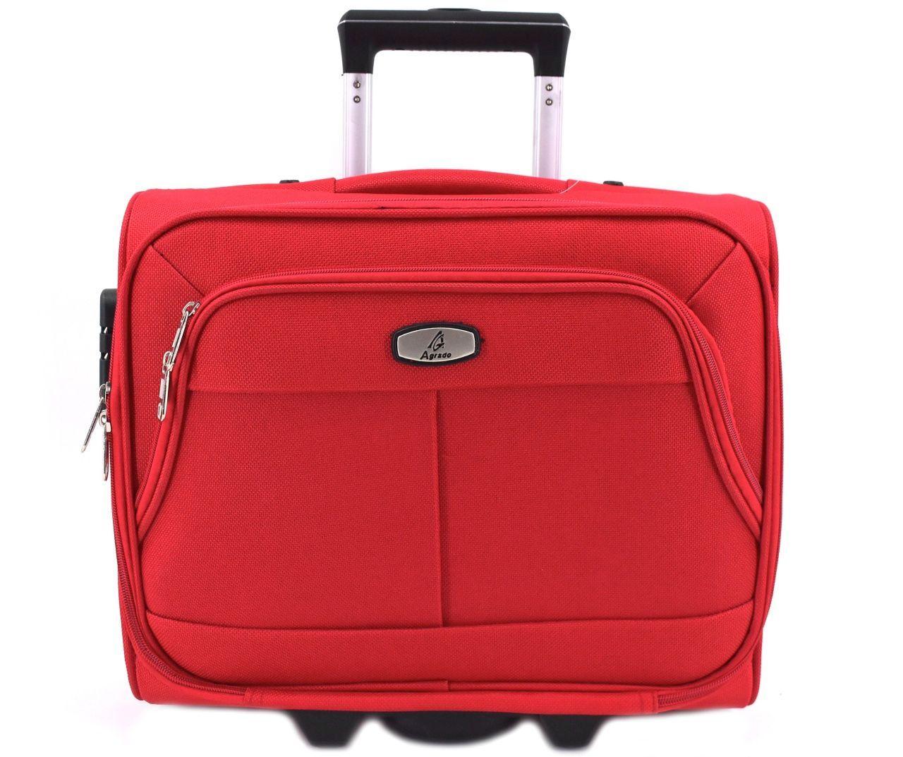 Pilotní textilní kufr - červená 33953