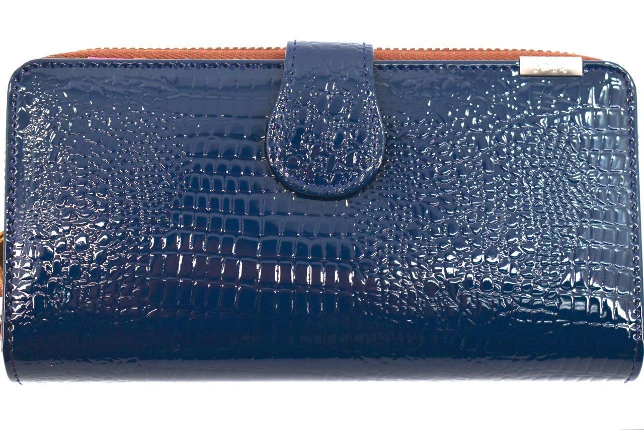 Levně Kožená lakovaná peněženka Klavier - tmavě modrá