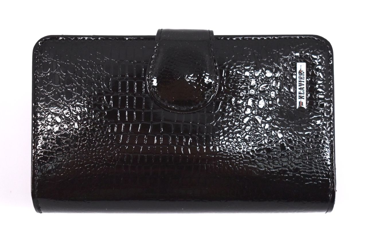 Kožená lakovaná peněženka Klavier - černá