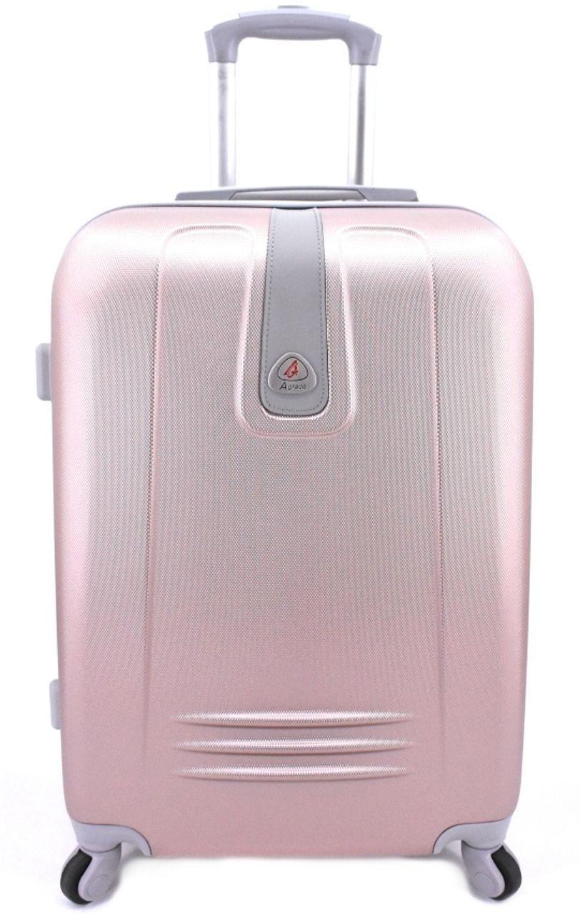 Cestovní palubní kufr Agrado / 4 kolečka - světle růžová (S) 40l 6168 (S)