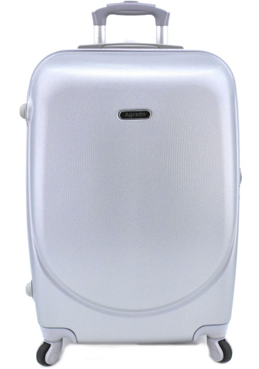 Cestovní kufr skořepinový na čtyřech kolečkách Agrado (M) 60l - stříbrná 6011 (M)