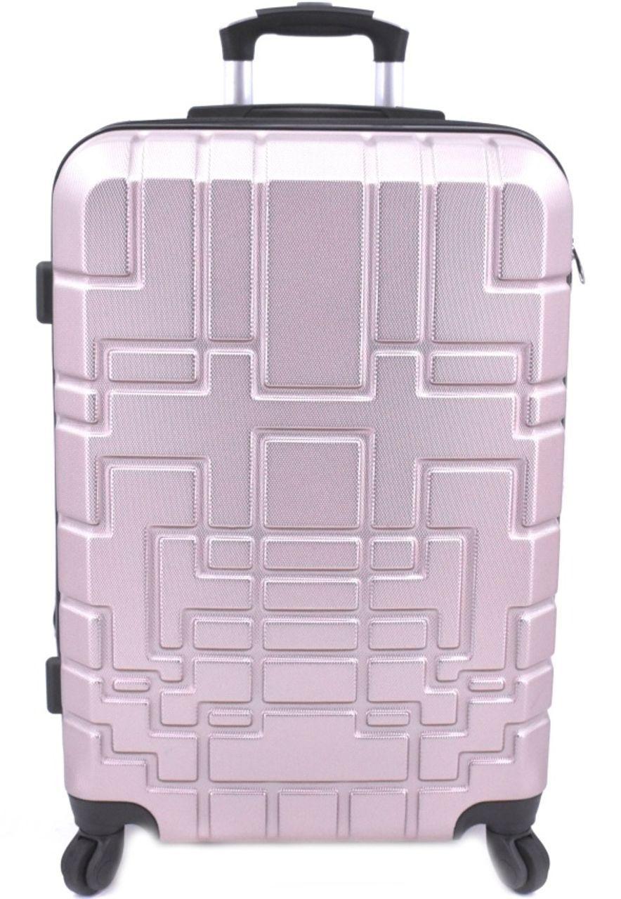 Cestovní kufr skořepinový na čtyřech kolečkách (M) 80l - světle růžová 6015 (M)