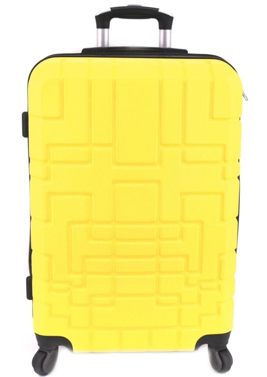Cestovní kufr skořepinový na čtyřech kolečkách (M) 80l - žlutá 6015 (M)