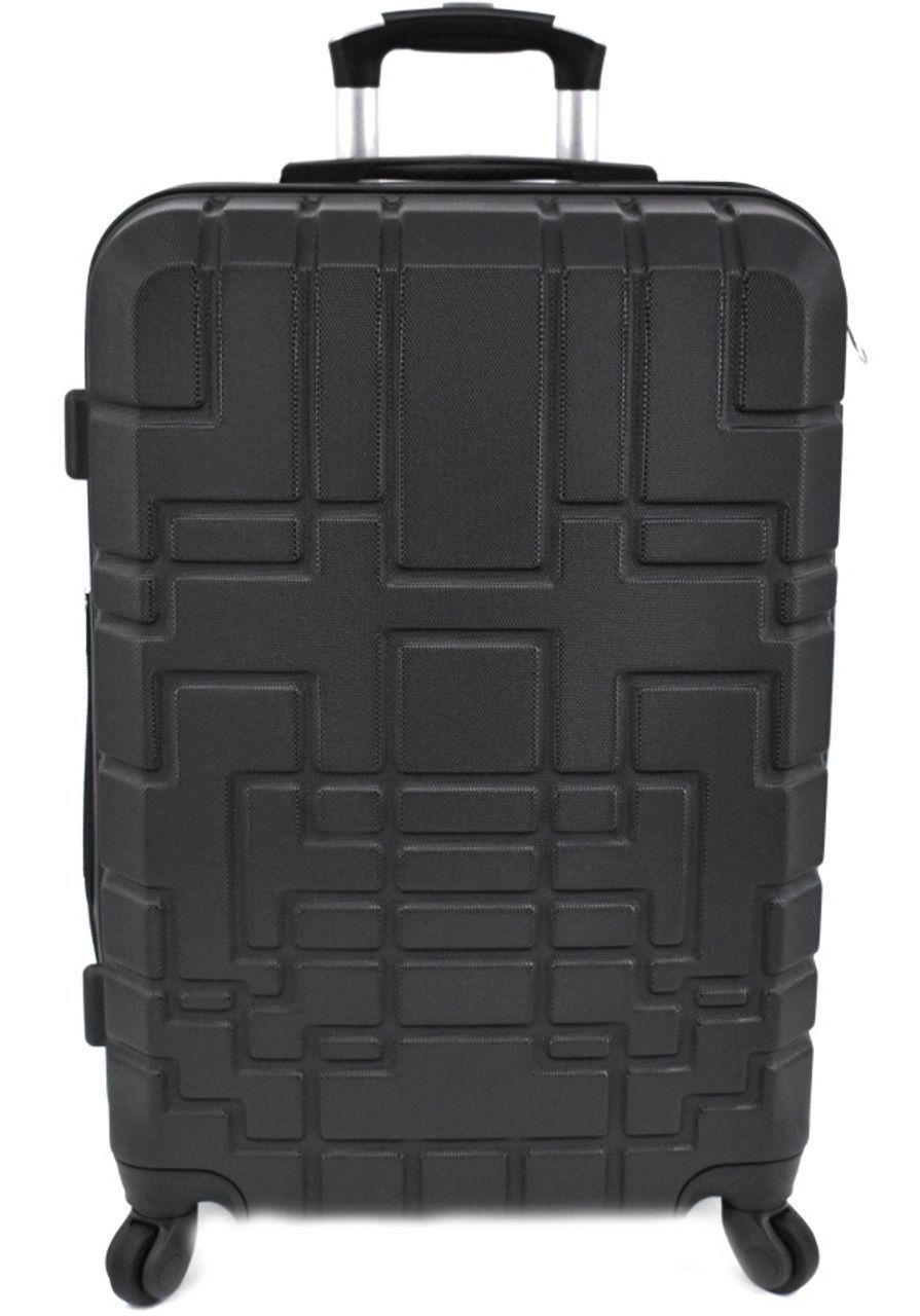 Cestovní kufr skořepinový na čtyřech kolečkách (M) 80l - černá 6015 (M)
